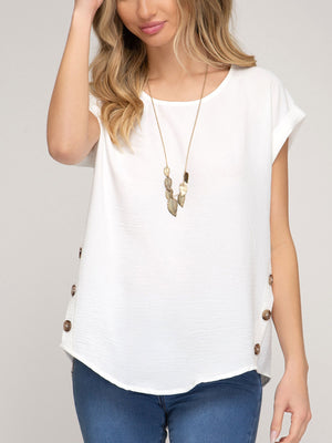 Drop Shoulder Woven Top