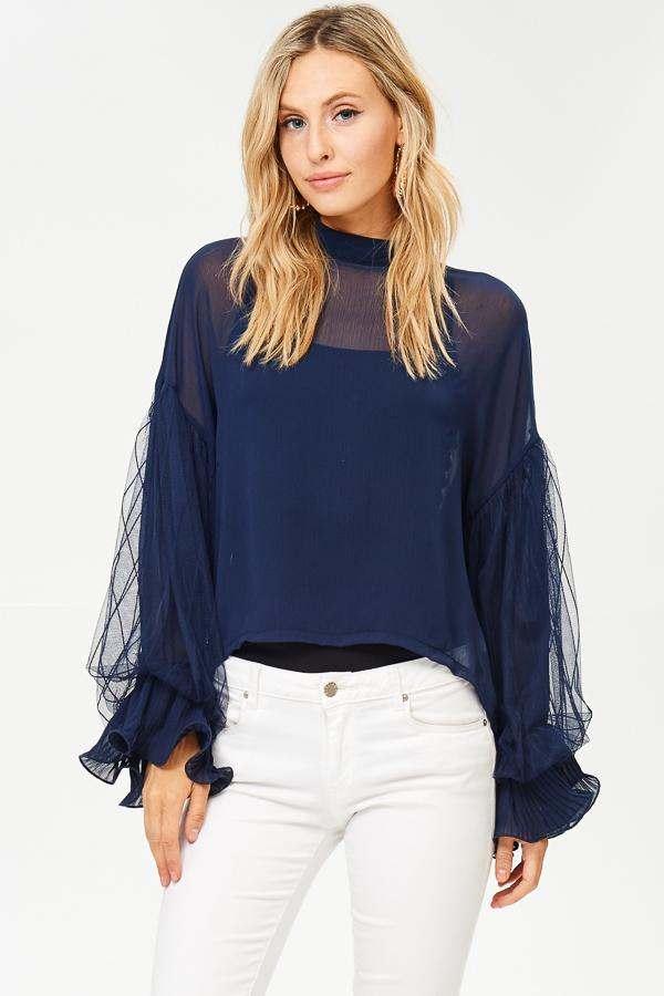 Mock-Neck Ruffled Sleeve Blouse