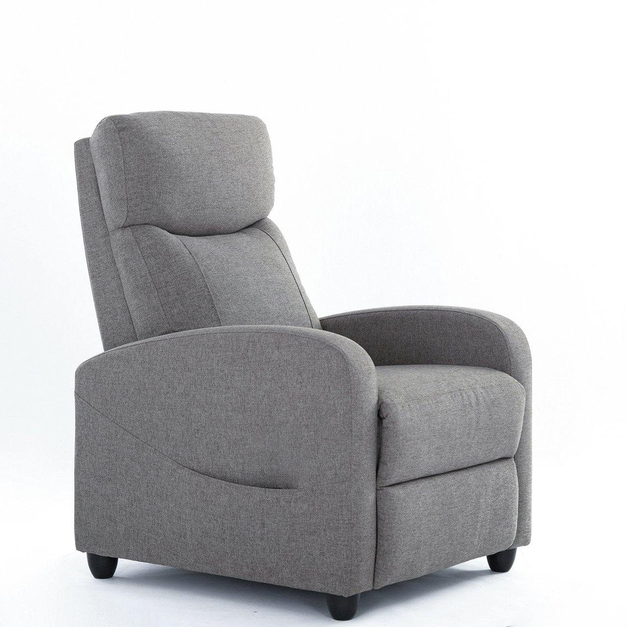 Milemont Recliner Sofa Chair, Reclining Chair with Padded Seat Backrest, Gray