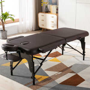 Milemont Adjustable Massage Table, Portable Folding Massage Bed, PU Leather, Spa Bed, 2-Section Massage Table, Brown
