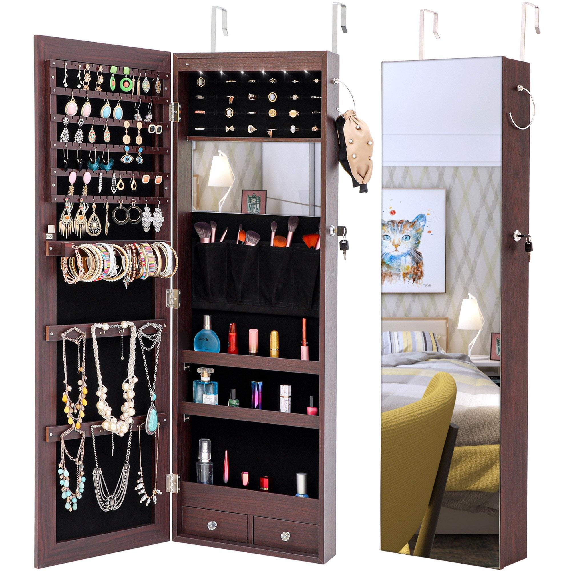 Milemont Jewelry Armoire with Mirror, Internal LED lights