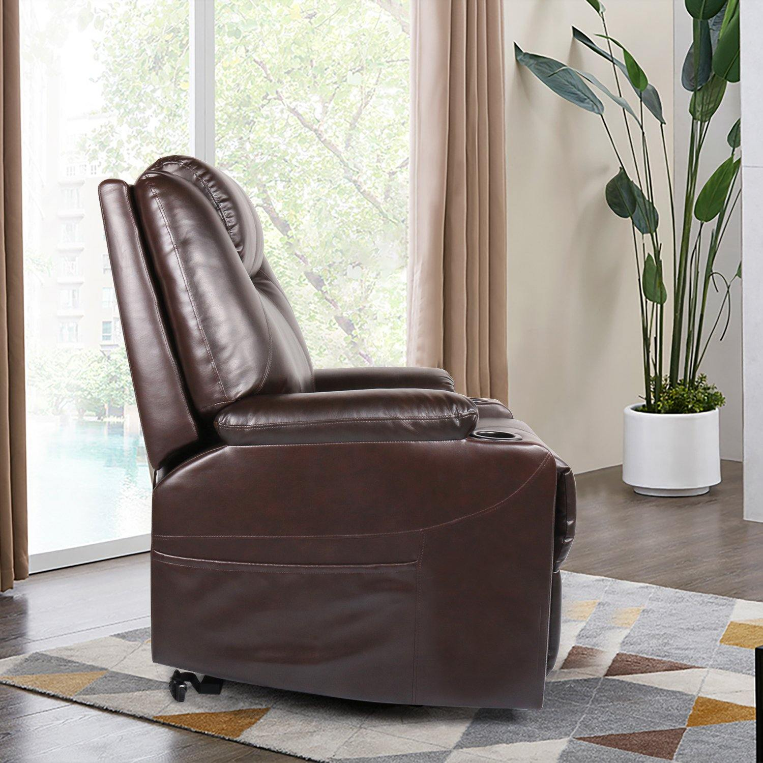 Milemont Recliner Chair, PU Leather, Ergonomic Lounge Chair with Cup Holders and Side Pockets, USB Ports, Brown