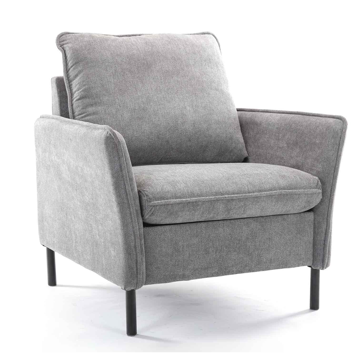 Milemont Accent Chair, Armchair, Single Sofa for Bedroom and Living Room, Modern Upholstered Seat, Grey