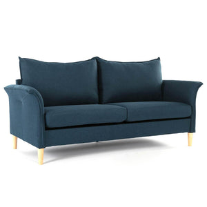 Milemont Sofa, Couch and Loveseat Futon for Living Room, Linen Fabric, Tool-Free Assembly, Dark Blue