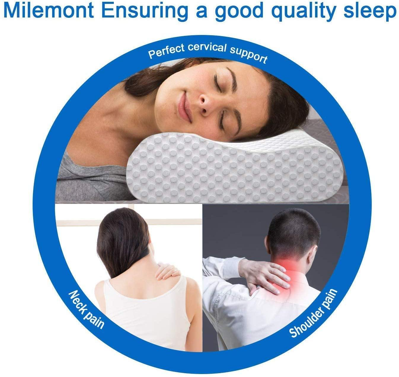 Milemont Memory Foam Pillow, Adjustable Contour Pillow for Neck Pain, Orthopedic Contour Pillow