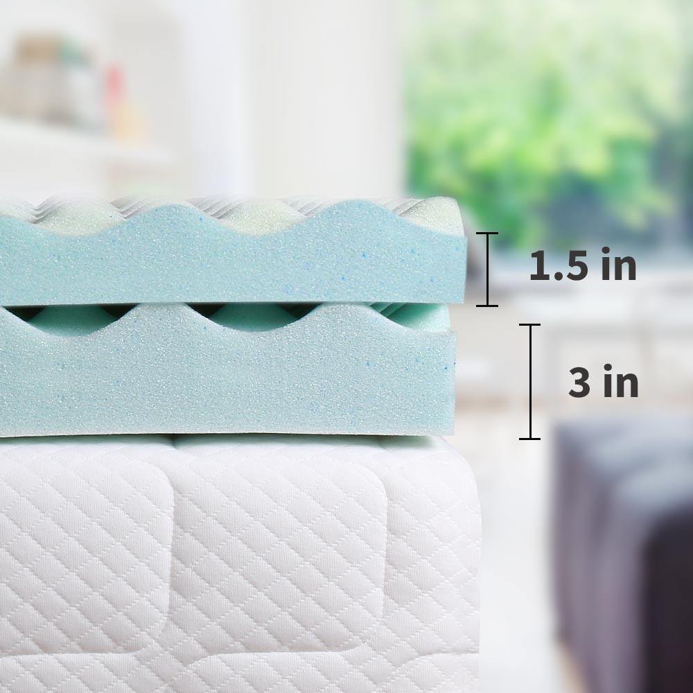 Milemont  Memory Foam Mattress Topper, Egg Crate Design, 3 Inches