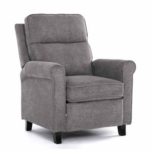 Milemont Recliner Fabric Single Reclining Sofa with Thicker Seat Cushion And Padded Seat Backrest Adjustable Home Theater Chair, Grey