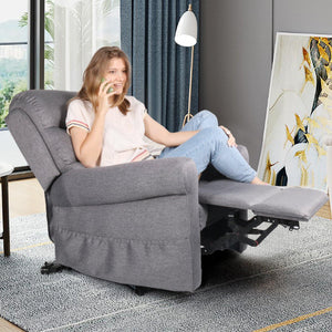 Milemont Fabric Recliner Chair, Electric Power Lift Sofa,  Modern Single Sofa, Gray