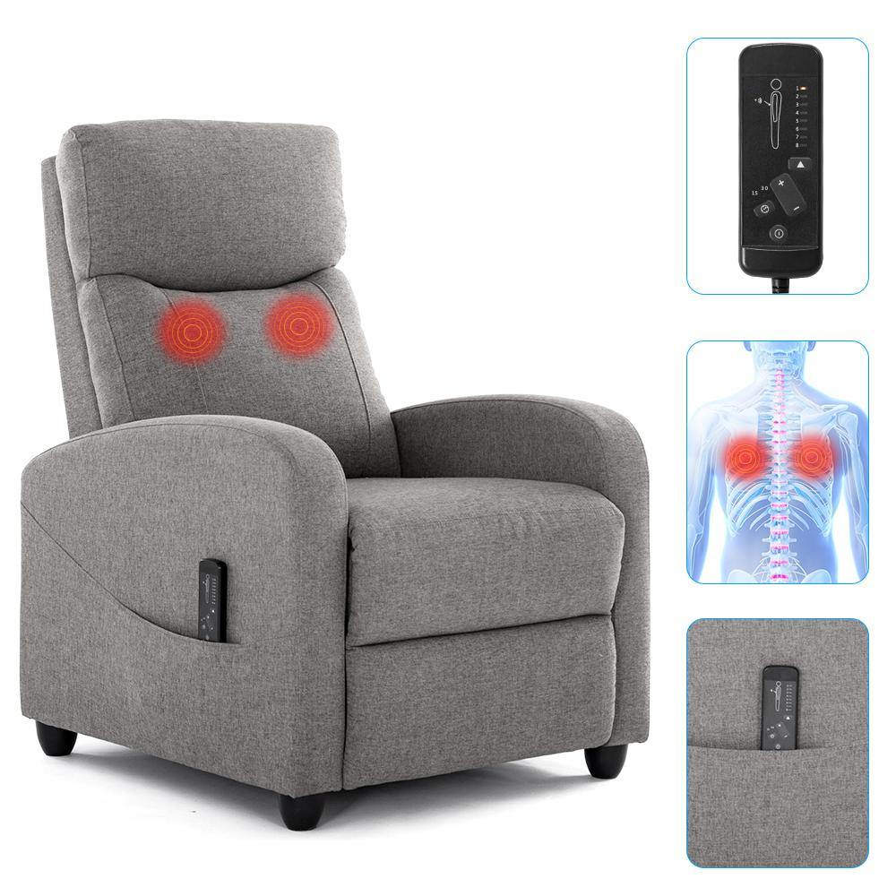 Milemont Recliner Sofa, Massage Arm Sofa Chair, Recliner Winback Single Sofa, with Padded Seat Backrest, Gray