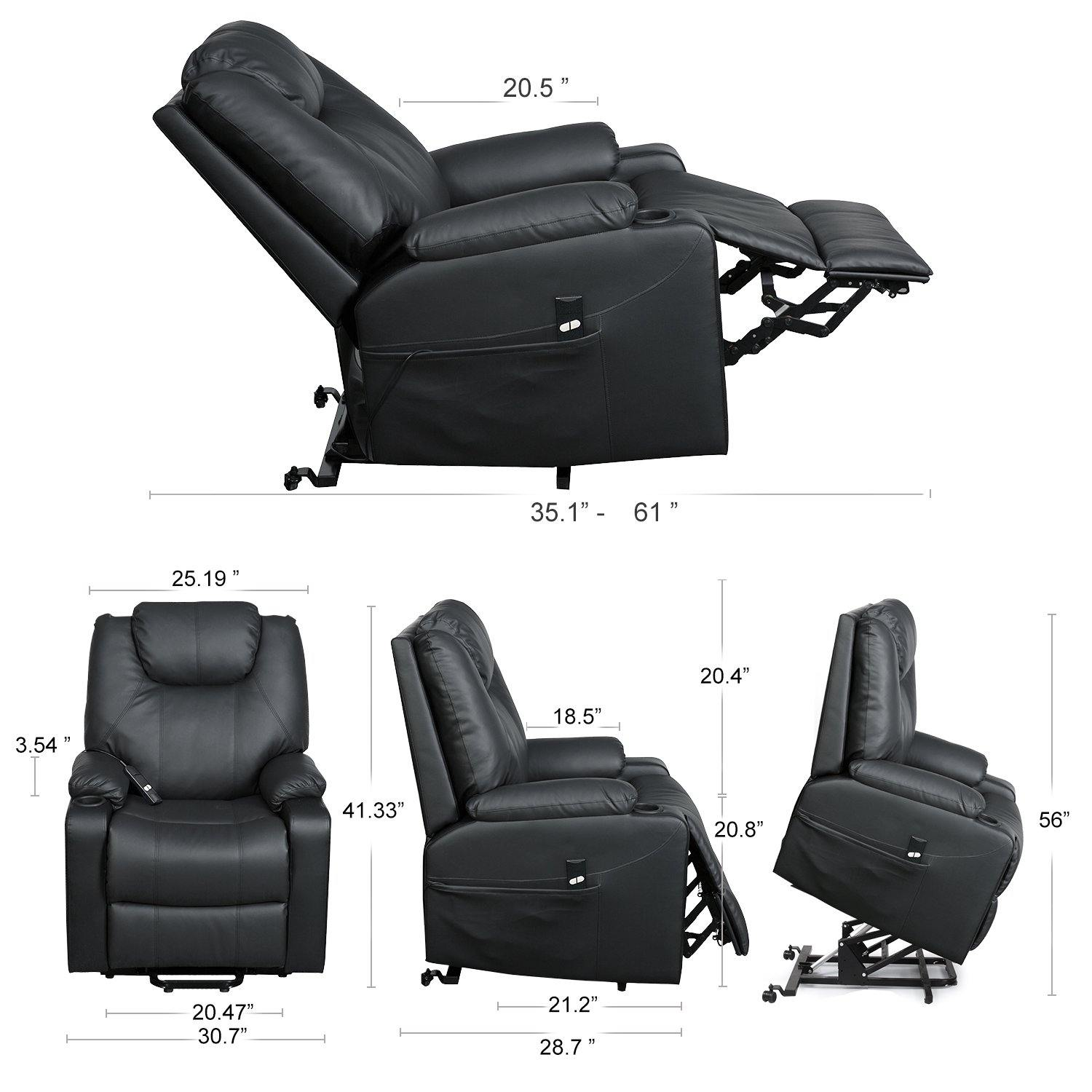 Milemont Recliner Chair, PU Leather, Ergonomic Lounge Chair with Cup Holders and Side Pockets, USB Ports, Black