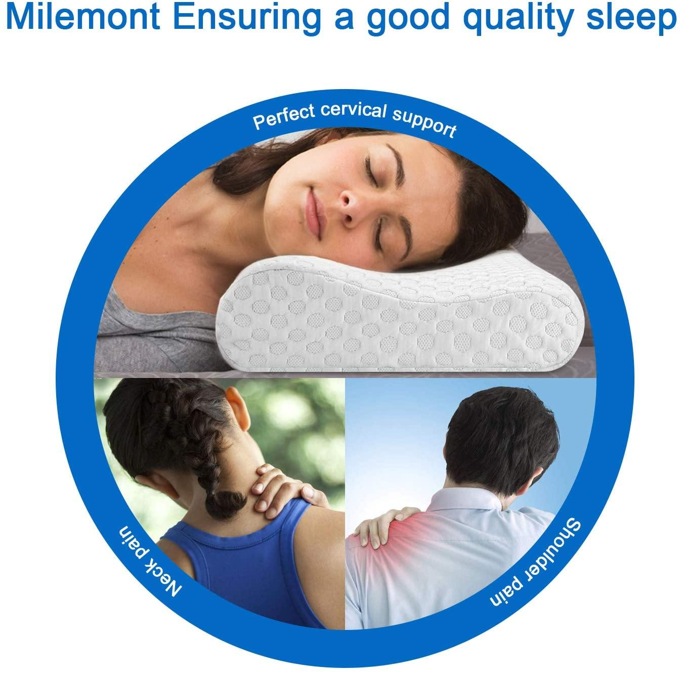 Milemont  Memory Foam Pillow, Bamboo Charcoal, Orthopedic Contour Pillow