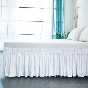 Milemont Hotel Bed Skirt, White Wrap Around, Elastic Bed Shirts, Without Bed Surface, Twin /Full/ Queen/ King Size, 38cm Height