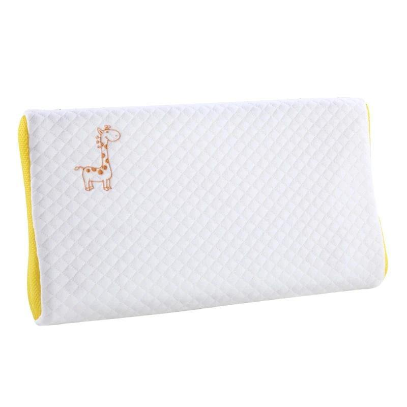 Milemont Child Memory Foam Pillow, Giraffe Embroidered, Cervical Neck, Breathable, Baby Pillow for Sleeping