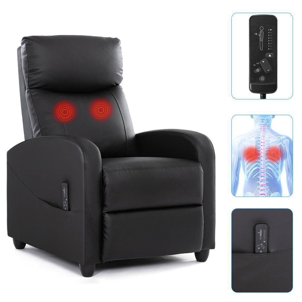 Milemont Recliner Sofa, Massage Arm Sofa Chair, Recliner Winback Single Sofa, Black