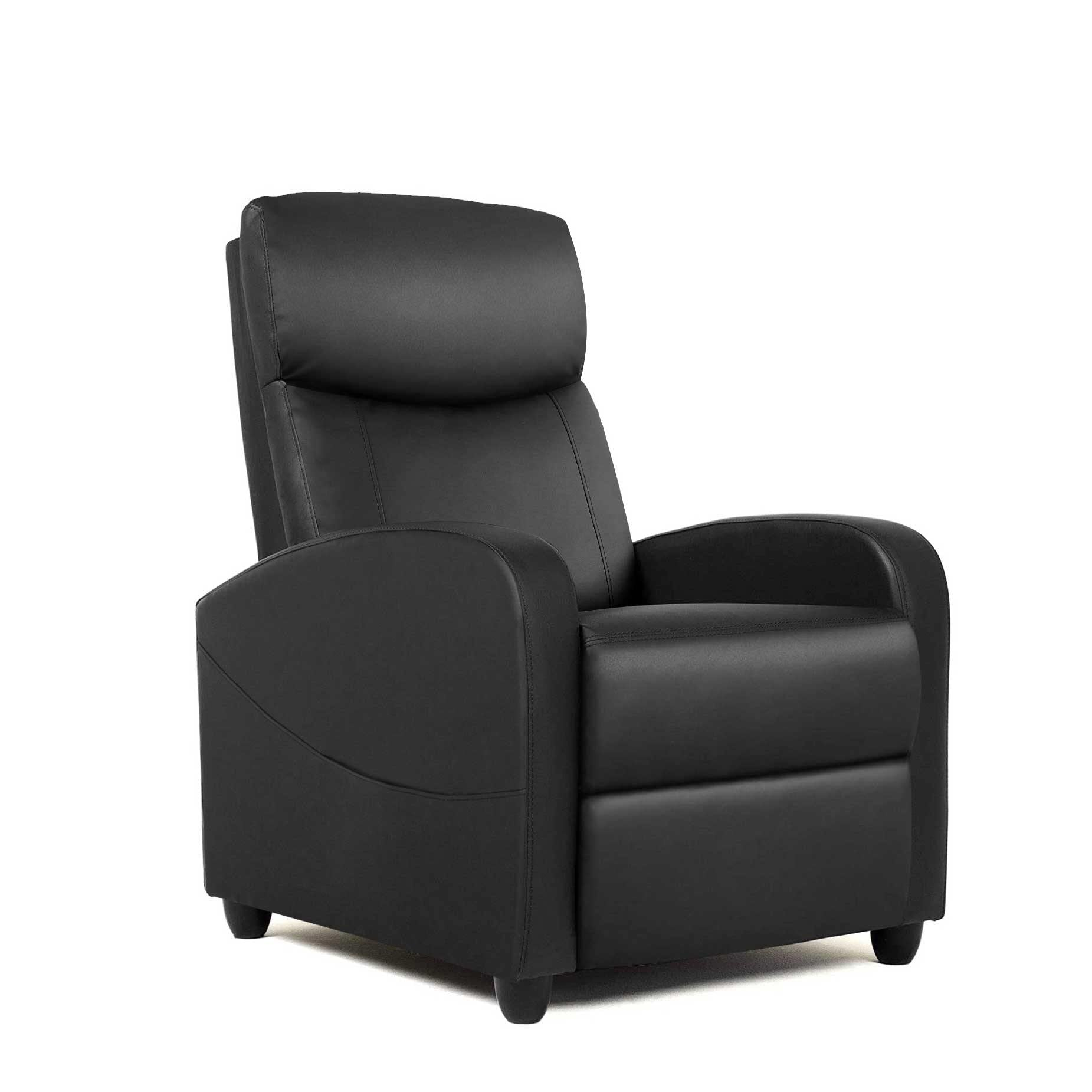 Milemont Recliner Sofa Chair, Reclining Chair with PU Leather Padded Seat Backrest Black