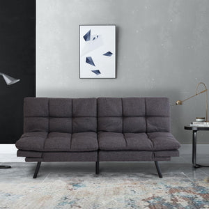 Milemont Futon Sofa Bed, Memory Foam Couch, Sleeper Daybed Foldable Convertible Loveseat, Gray