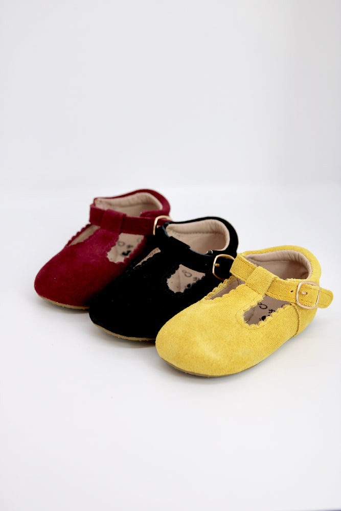 Load image into Gallery viewer, Riley T-Straps - Scalloped - Suede Mustard