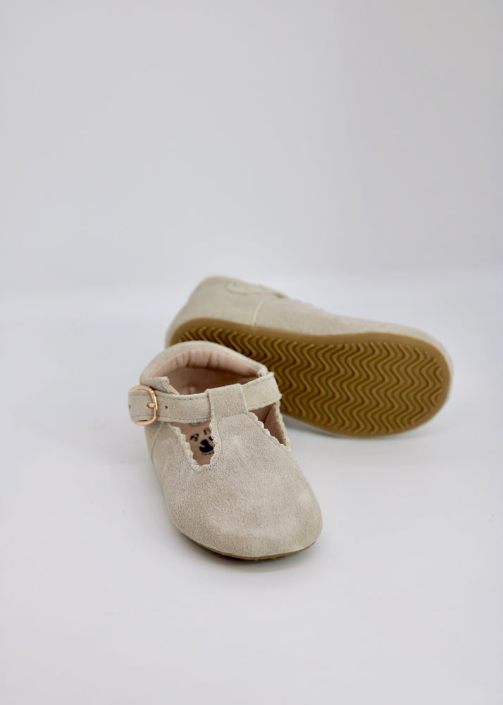 Riley T-Straps - Scalloped - Suede Gray