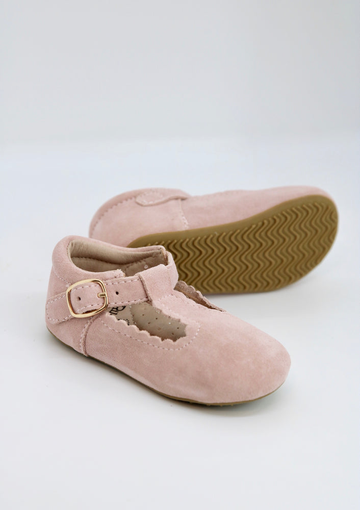 Riley T-Straps - Scalloped - Suede Pale Rose