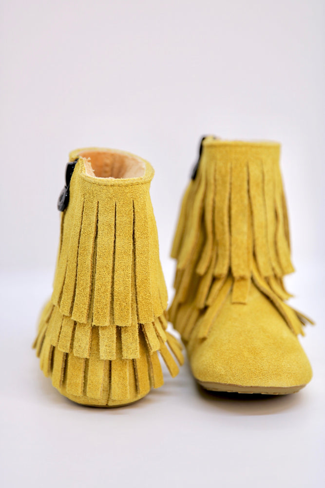 Amelia Fringe Boots - Suede Mustard