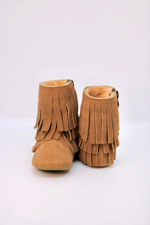Amelia Fringe Boots - Suede Weathered Brown