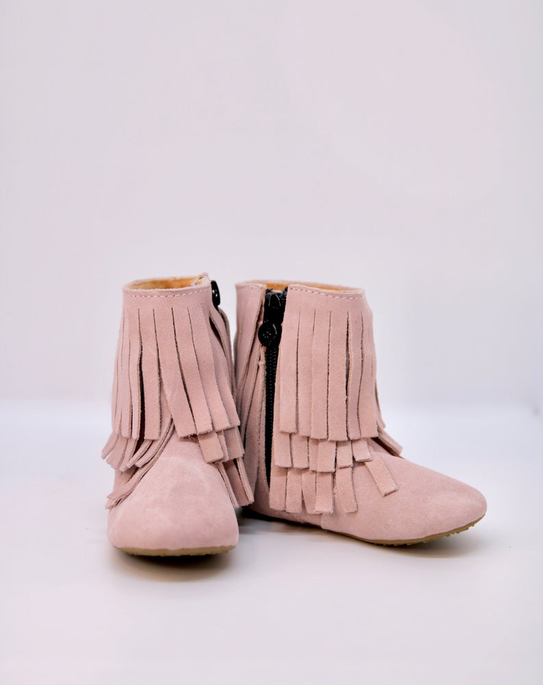 Amelia Fringe Boots - Suede Pale Rose