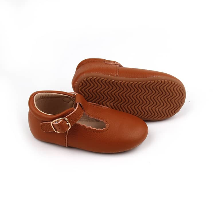 Riley T-Straps - Brown Scalloped