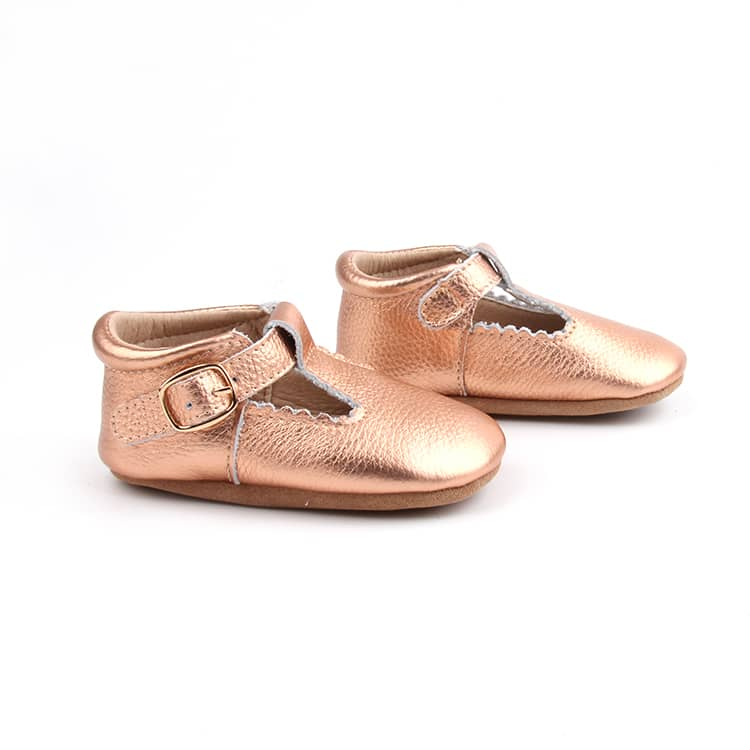 Riley T-Straps - Rose Gold Scalloped