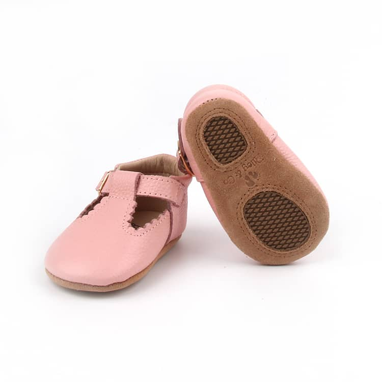 Riley T-Straps - Peony Pink Scalloped