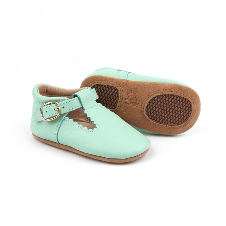 Riley T-Straps - Mint Scalloped