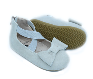 Eyleen Bow Ballet Flats - Suede Gray - rileycoshoes.com
