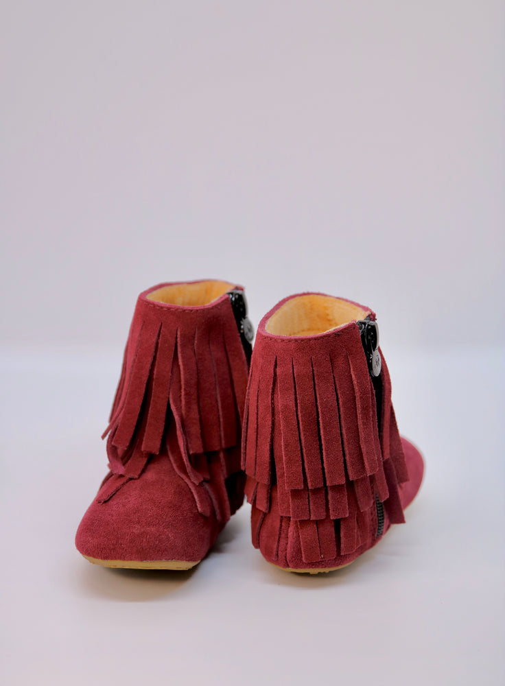 Load image into Gallery viewer, Amelia Fringe Boots - Suede Sangria