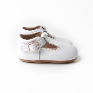 Riley T-Straps - Cloud White Scalloped