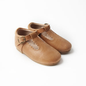 Riley T-Straps -  Oil Waxed - Tan Scalloped