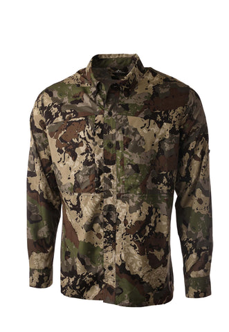 pnuma outdoors shooting shirt - long sleeve - front view - caza camo color