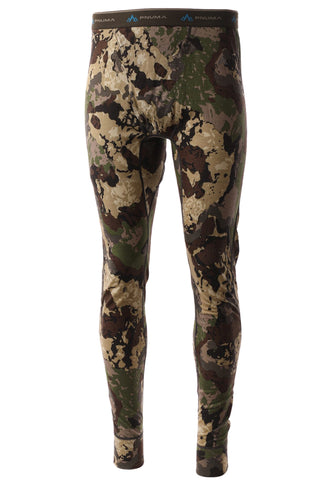 pnuma outdoors merino wool base layer pant - caza camo color - front