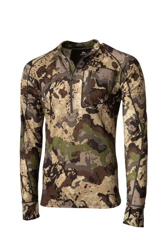 pnuma outdoors marino wool base layer pullover - front view - caza camo