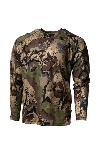 pnuma outdoors rogue performance shirt - long sleeve - front view - caza camo color