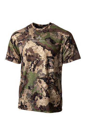 pnuma outdoors rogue performance shirt - short sleeve - front view - caza camo color