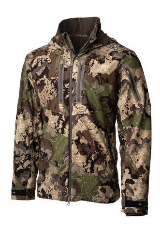 pnuma outdoors selkirk jacket - front view - caza camo color