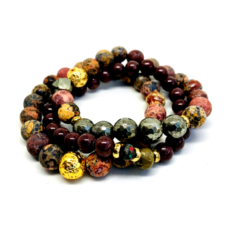 JR Leopard Three-Layer Bracelet Set