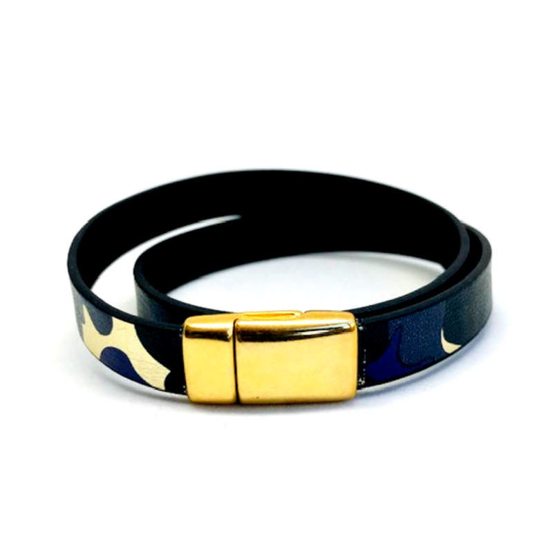 Blue Camo Double-Wrap Leather Bracelet