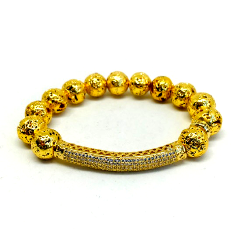 Nix 24K Gold and Lava Bead Bracelet