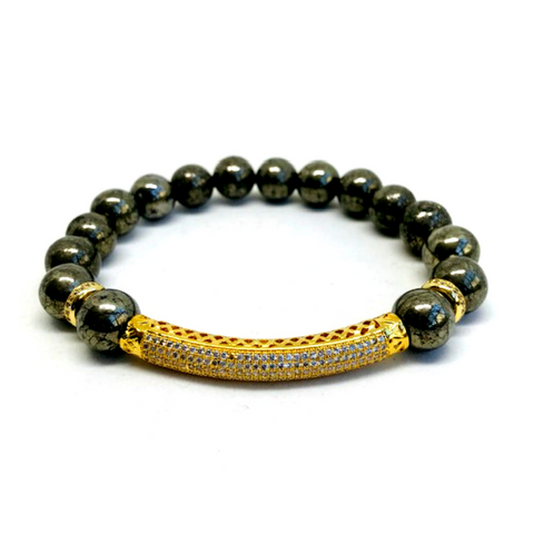 Armory Pyrite Bead Bracelet in 24K Gold