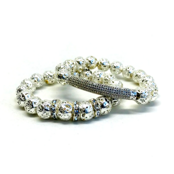 Nix Silver Lava Bracelet with CZ Micro Paved Rounds