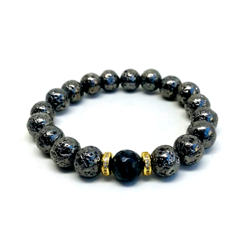 Onyx Pave Beaded Bracelet in 24K Gold