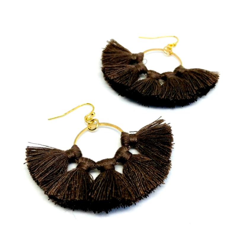 Madsion C-Tassel Hoop Earrings