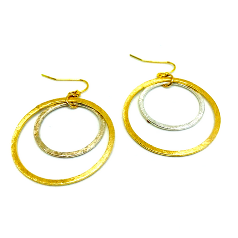 Cable Loop Earrings with Sterling Silver and Gold