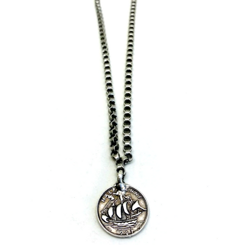 Antique Silver Coin Charm Necklace
