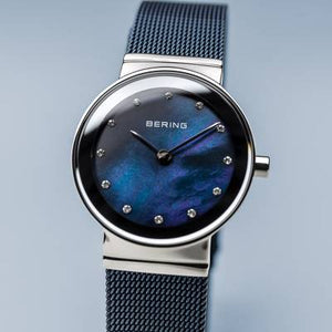 Bering Quartz Blue and Stainless Steel Bracelet Watch